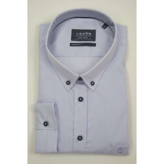 Ledub lange mouw shirt G+G Fit blue Stripe