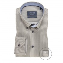 Ledub moss green stripe dress shirt ML7 3261